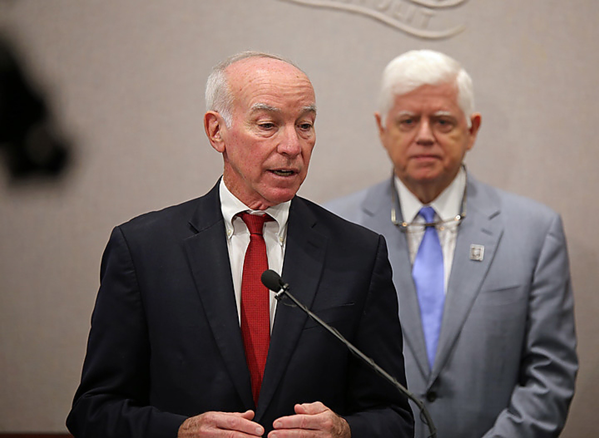 Photograph of U.S. Rep. Joe Courtney, D-2nd District, speaking to reporters on Oct. 16, 2018. Standing behind Courtney is U.S. Rep. John Larson, D-1st District. (Christine Stuart / CTNewsJunkie)