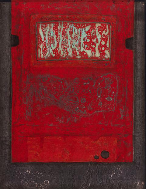 Emotional Space, a Woodblock printed in color in 1976 by Tajima Hiroyuki.